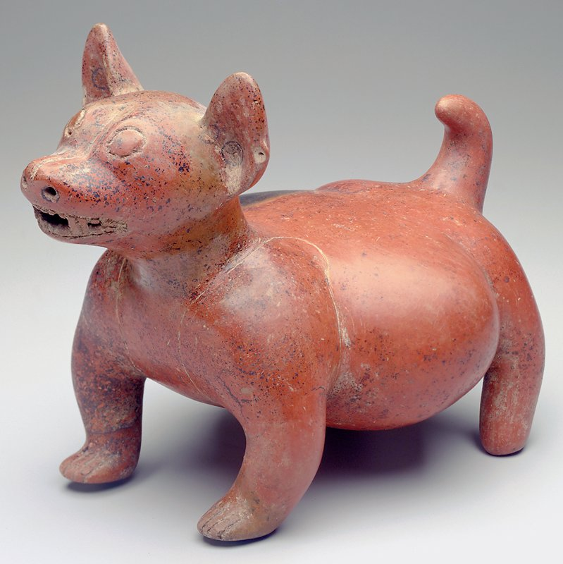 Small standing dog with teeth bared; stomach protruding on both sides on body; short pointed ears and short tail; incised eyes