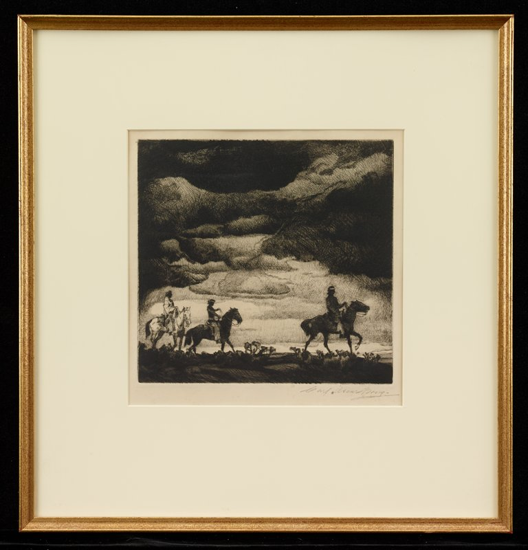 three Native Americans riding horses; two dark horses at right and center and one white horse at left; low horizon line; dark clouds in sky