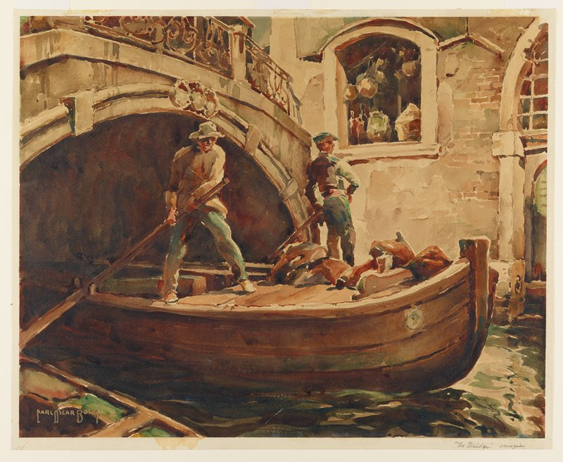 two oarsmen standing on boat emerging from beneath an arched bridge; stone building at right in background