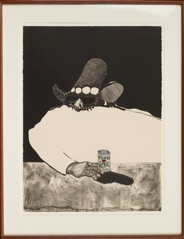 stylized image of figure with white upper body, with nose and dark glasses visible above white field and below large cowboy hat; PR hand on mottled tabletop touches a can of Coors beer; entire image in black and white except beer can