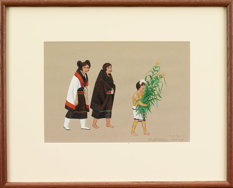 walking couple accompanied by young boy; boy at right wears a white skirt with green, red and black patterning on PL hip and has bands of gold paints on his arms, legs, body and face; boy wears a small white headdress and carries stalks of corn; man at center has cropped brown hair and wears a black and brown blanket wrapped around his body, with bands of green and red; woman wears a white beaded necklace, white blanket with red and black trim, and brown dress with black hem and red, green and black trim, and white boots