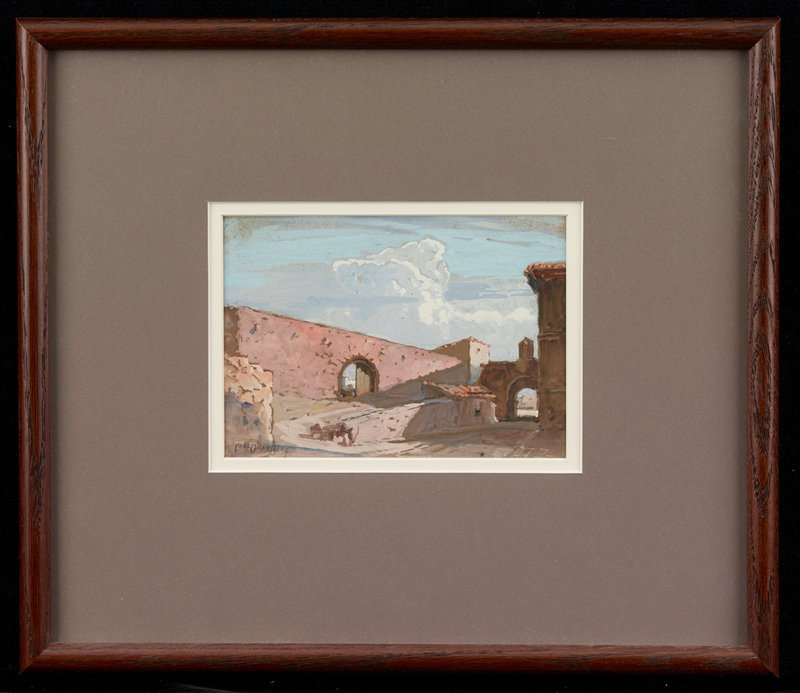 structure of pink brick/stone with archway at left; another archway in LRQ; red tile roof on small structure to left of archway at right; tall white clouds in blue sky