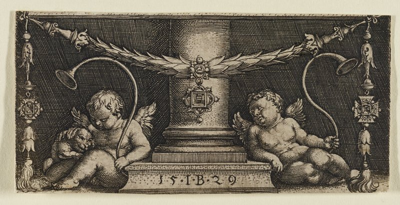column at center with putti (one sitting, one reclining) holding a horn on each side; putto at L cuddles small animal; garland stretches across top and hangs down sides