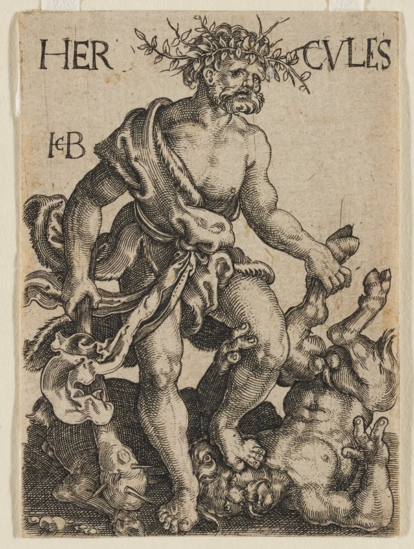 muscular, bearded male figure wrapped in robe leaning on spiked club in PR hand; standing on the head of a writhing Satyr, and holding its ankle in his PL hand; inscription across top