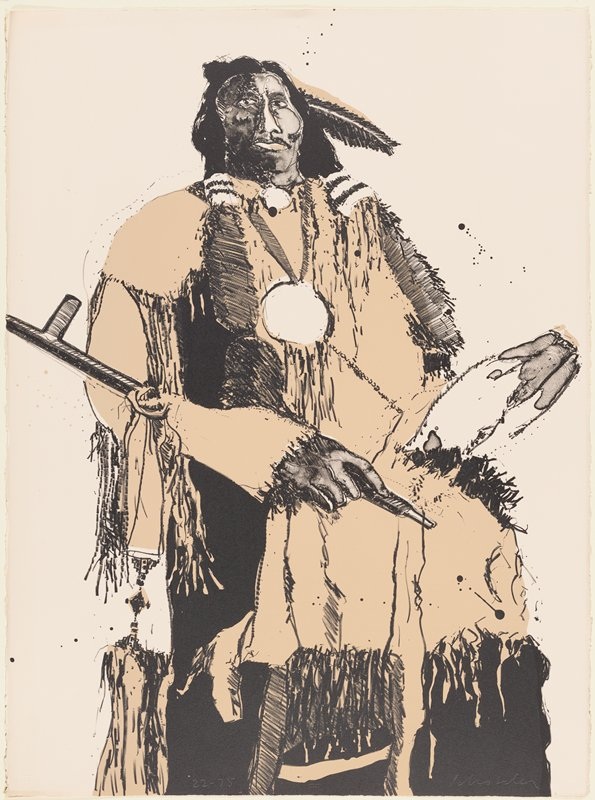 standing Native American man with a feather in his hair, wearing a large medallion, holding a pipe across his PR arm; slightly abstracted; garment and feather are light tan