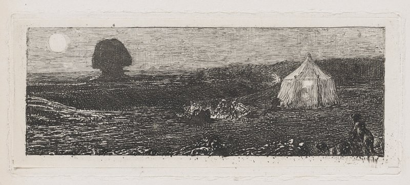 white tent at R with light shining toward a shadow of the Sphinx, from the front; small group gathered around embers of a campfire at center; animal in shadows at LRC