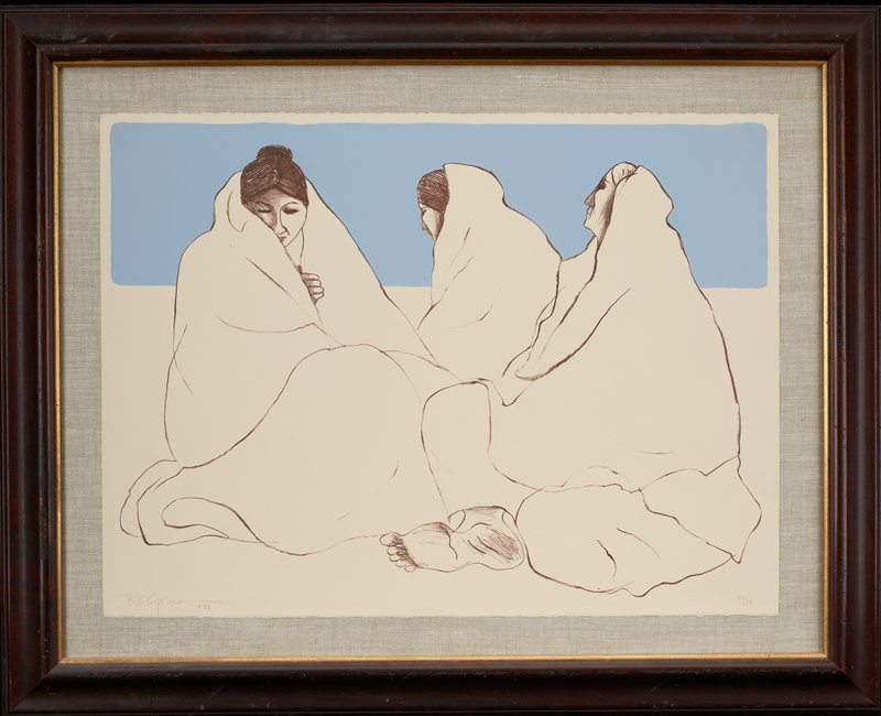 three seated women, each wearing a white blanket; foot of woman at right at bottom center; blue rectangle at top