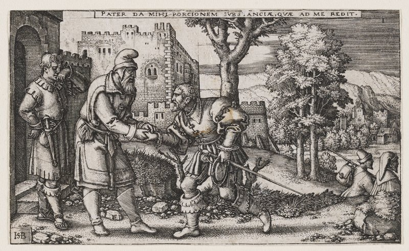 man with long sword, kneeling, shaking the hand of another man with beard at L; another male figure at far L watches, holding hand to face; estate with trees in background