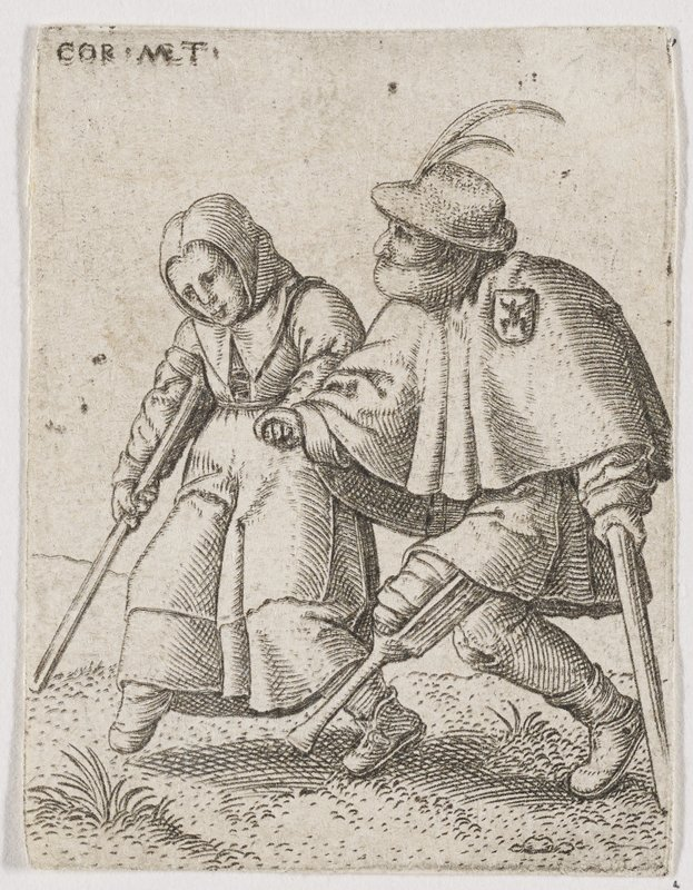 couple walking, holding hands; male at L wears a badge and rests PL hand on a crutch, swinging his wooden peg leg forward; woman at R walking with a crutch with footless R leg forward