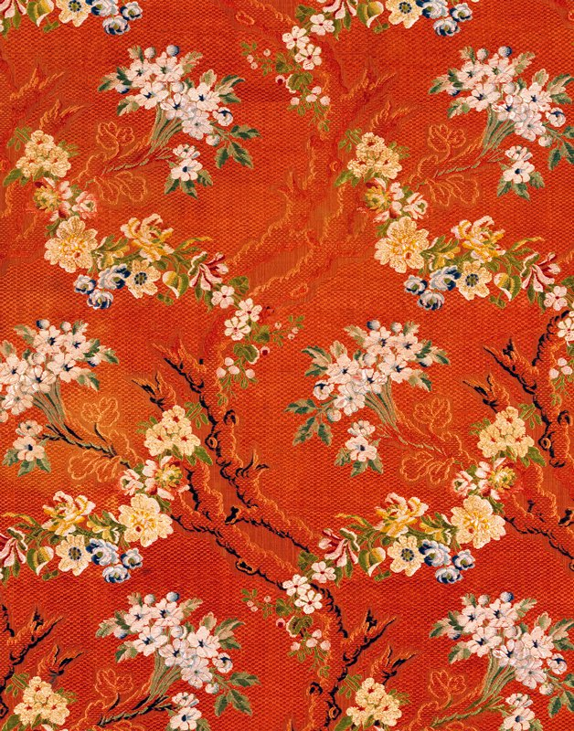 brick patterned; brocaded in silk chenille with floral bouquets