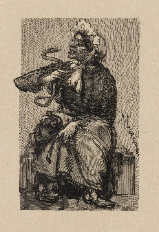 woman sitting on bench holding a snake in PR hand very closely to her face, as if talking to it; elbow from arm with snake extends outside of image plane