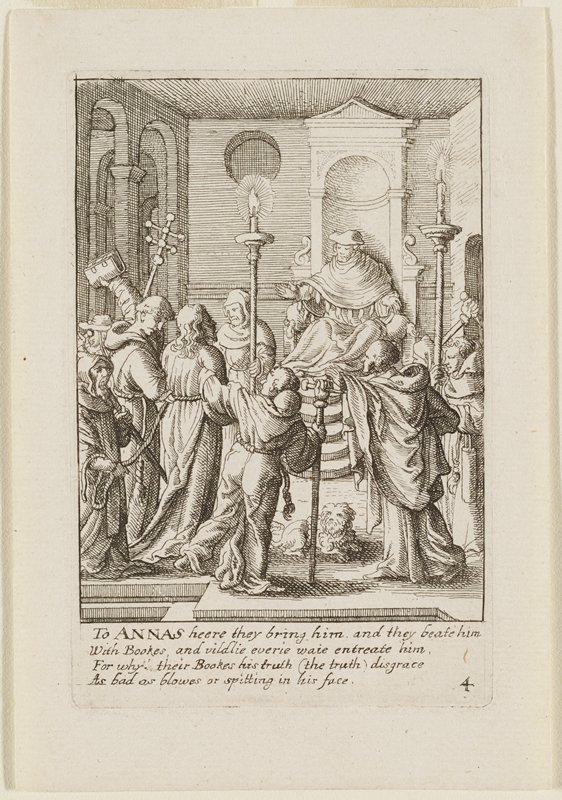interior scene with Christ bound with ropes at LL; man on throne in back at R addressing Christ and his captors; one of the men next to Christ holds up a book