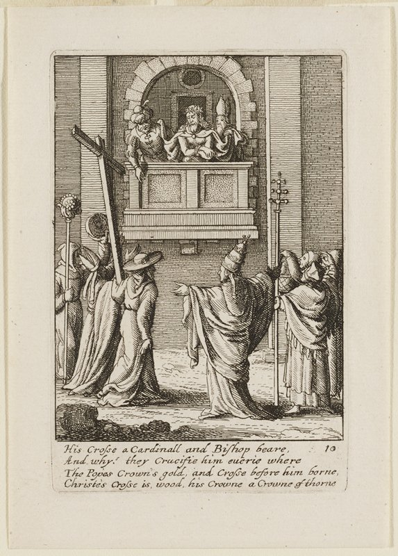 Jesus on balcony with two other men in upper center; small crowd in foreground; man R of center in priestly clothing holding out his arms; man at L holds a crucifix