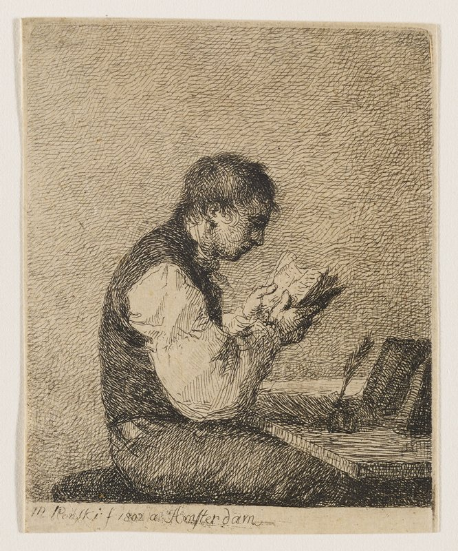 profile of a young man seated at a desk facing R, reading a book in his hands; an open book is propped up on the R side of the desk along with an inkwell and quill