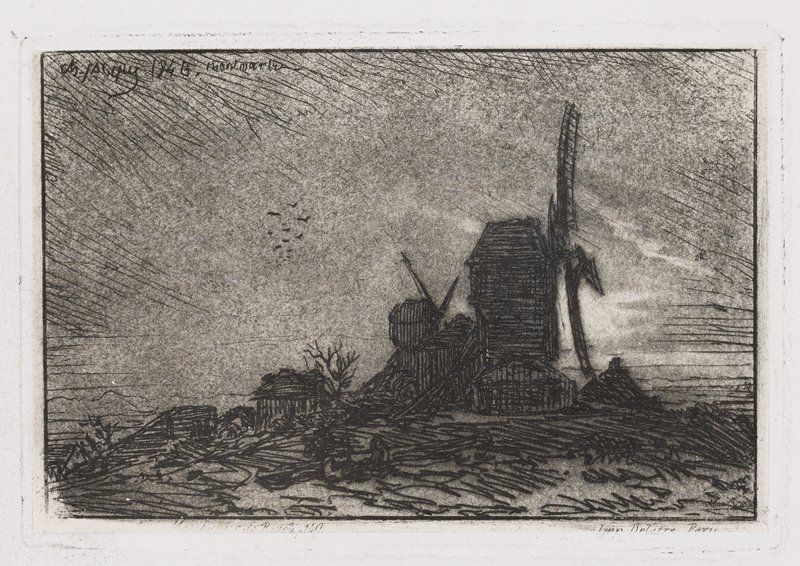 profile of large, silhouetted windmill, with a smaller windmill just behind; small wooden buildings down to L; sketchy, field like landscape in foreground; flock of birds ULQ; very dark image