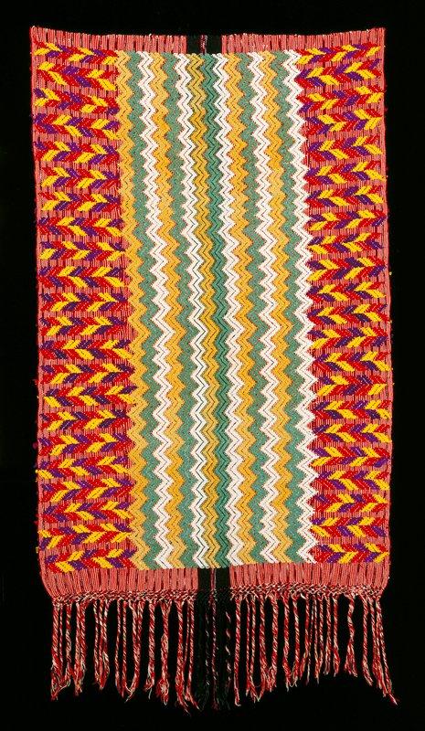 cotton warp-faced red, yellow, purple; silk supplemental weft in blue, white, yellow