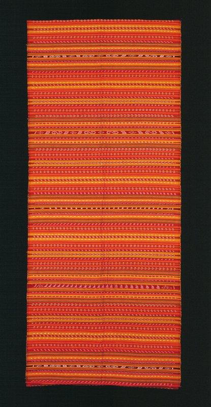 red cotton plain weave; ikat stripes (yellow, black, green)