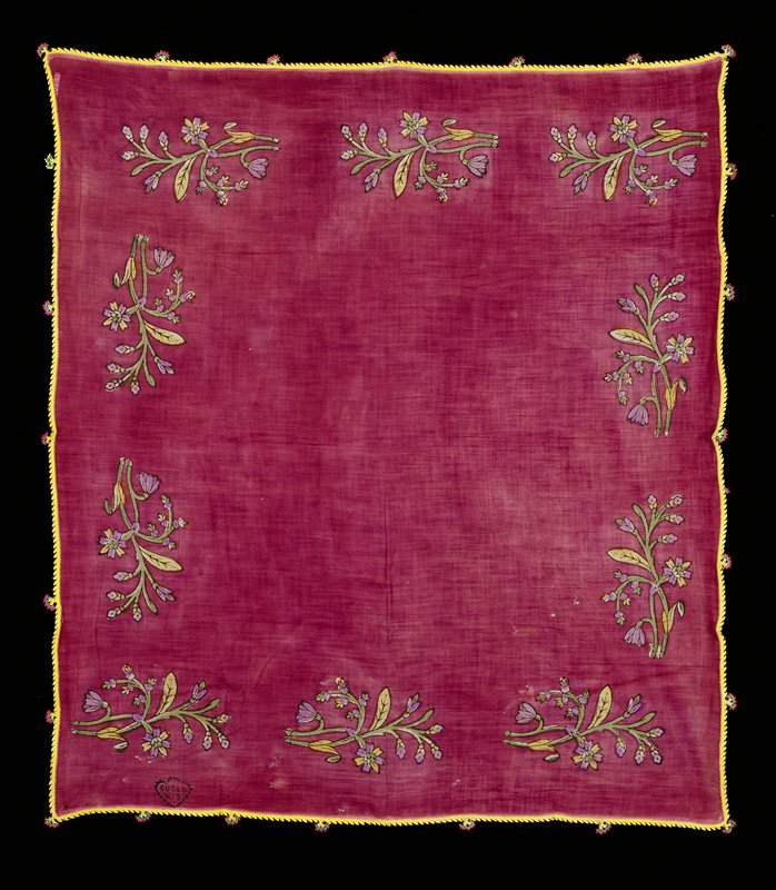 Gauzy, thin fabric; purple ground with 10 block printed floral stems around edges; trimmed with yellow tatted border and yellow, green and pink flowers