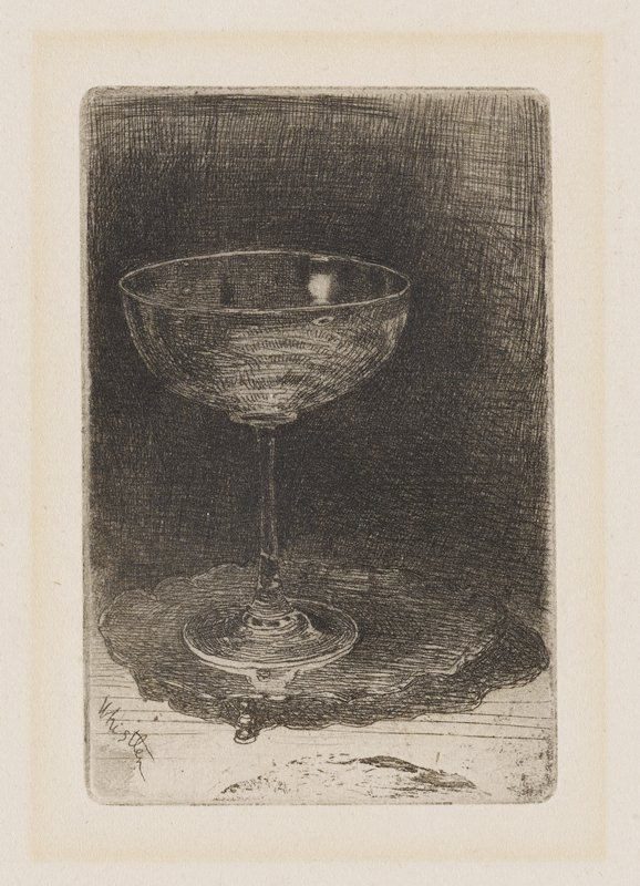 image of an empty wine glass standing on small, heavily shaded plate with scalloped edge