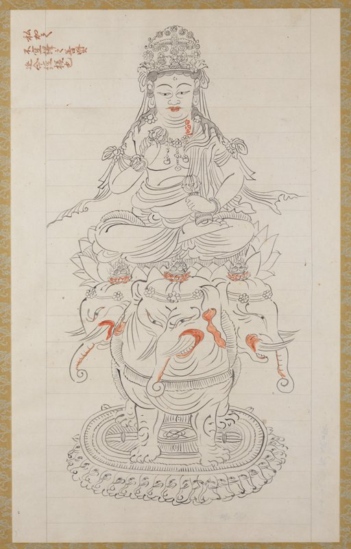 framed: Buddha seated on lotus blossom; pedestal supported by sneering three-headed elephant; figure wears ornate headdress, and holds two metal objects; lips are colored red; lips, underside of trunks, inside of ears, and lotus blossoms on elephants are also red