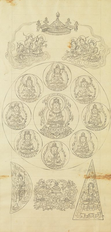 framed: encircled Buddha seated with double flaming halo at C, surrounded by eight similar encircled figures, each with a unique appearance; two floating clouds above with three attendants playing instruments, floating crown at top C; semicircle at LL with four-armed figure holding scepter, surrounded in flames; triangle at LR with seated figure holding small sword, surrounded by flames; arabesque design with a pot lower C