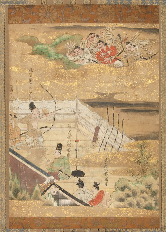male figures on a white-curtained balcony; one man is standing, aiming a longbow toward a cloud carrying grotesque figures brandishing weapons