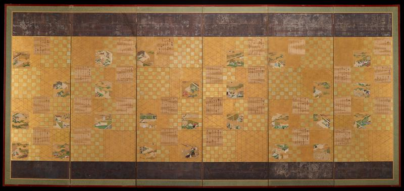 six panel screen with small paper leafs containing calligraphy or colorful images from the Tale of Genji against gold foil background painted with green grid patterns; tarnished silver and blue boarders across top and bottom