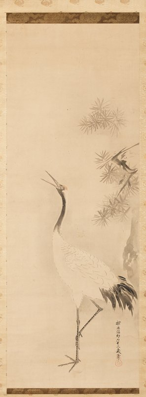 crane standing on one leg with body facing R, and head bent back over wing to L; two stalks of bamboo at L