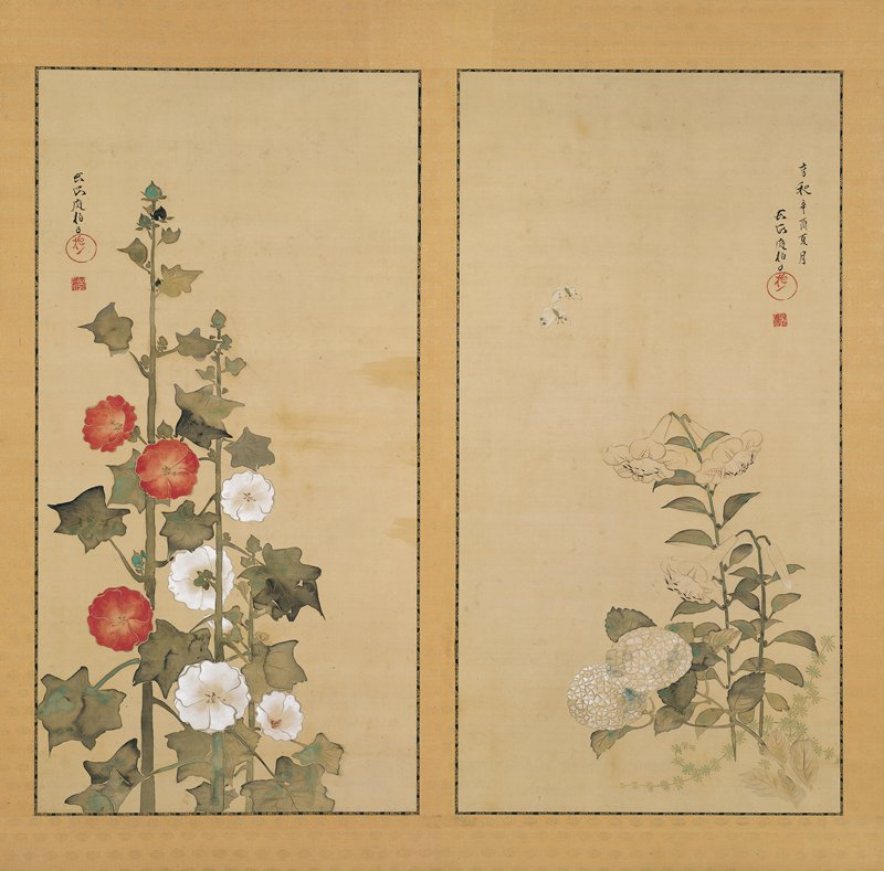 two panel screen with two separate images of flowers: blossoming white lilies and hydrangeas highlighted with blue, and two butterflies near top on R screen; three stalks of red and white hollyhocks on L panel