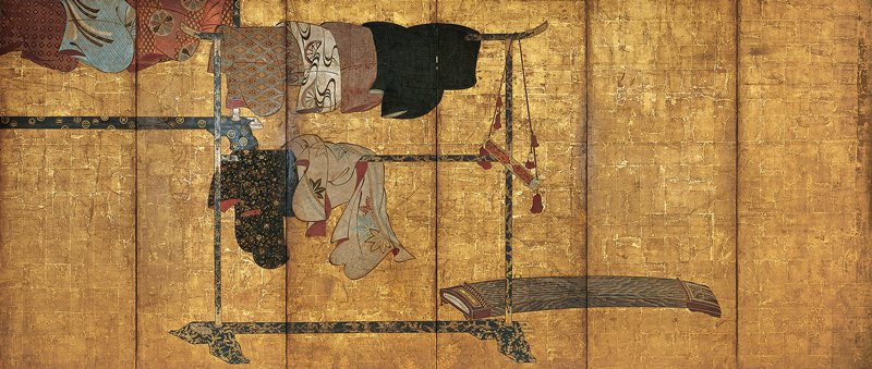 unsigned; image of two black lacquer kimono stands with different types of gold patterning, hung with various patterned kimono; koto (zither) in LRQ; tubular case with pink flowered brocade, pink tassels and gold bells hanging from right top corner of kimono stand at right