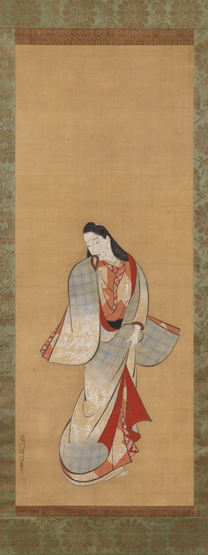 standing female figure clutching the hems of her robes in PL hand, near waist; PR arm is raised to mouth; looking over to LL; outer robe is light blue and white; inner robes are red and orange with designs