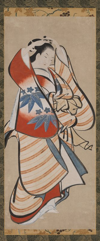 unsigned; 3/4 profile of woman using both hands to place a comb in her hair; bright, boldly colored clothing: red and white outer robe with gray-blue flowers and foliage; tan striped inner garment; bold black outlines