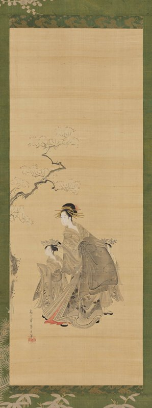 courtesan in voluminous gray robes with a younger attendant on each side; all three are standing below part of a cherry tree branch; courtesan and attendant on PR are looking toward L
