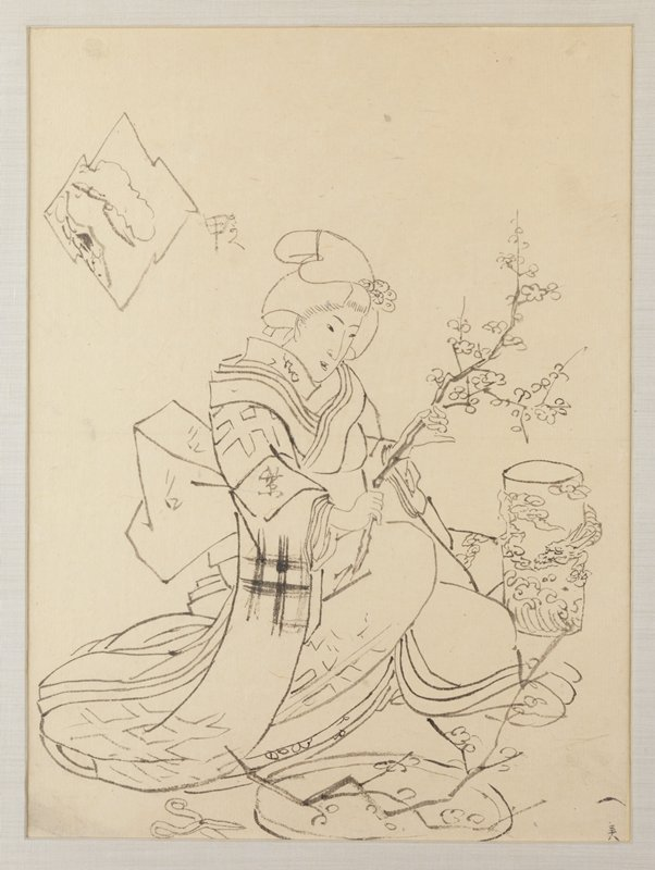 framed: female figure crouching on ground, pruning a blossoming branch in preparation for display in dragon vase; pruning sheers on ground nearby; another blossoming branch on platter a her knees; hash-mark pattern on clothing; preparatory drawing