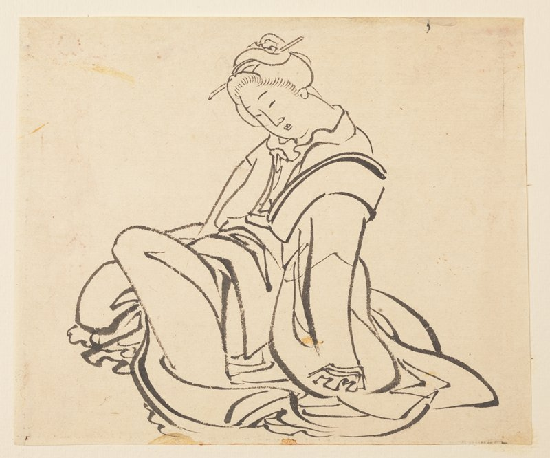 woman seated with PL knee drawn slightly up, resting body weight on PL arm; folds of her robes pool on the floor around wrist and legs; head tilted forward, looking down toward lap; hair done up with one stick