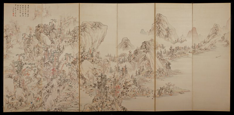 landscape with mountains and tany trees at left; man on horse with attendant, LLC; man on boat at right; buildings and water; seven-line inscription in black and two red seals, ULC; tan paper backing; on back, URC: N.V. Hammer Far Eastern Art sticker