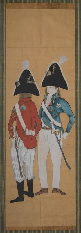 unsigned; two men in military dress; man at L wears red coat and striped pants, standing with back to viewer; man at R wears short blue coat, white pants, and cravat; both men have swords, triangular black hats, and curly hair; framed