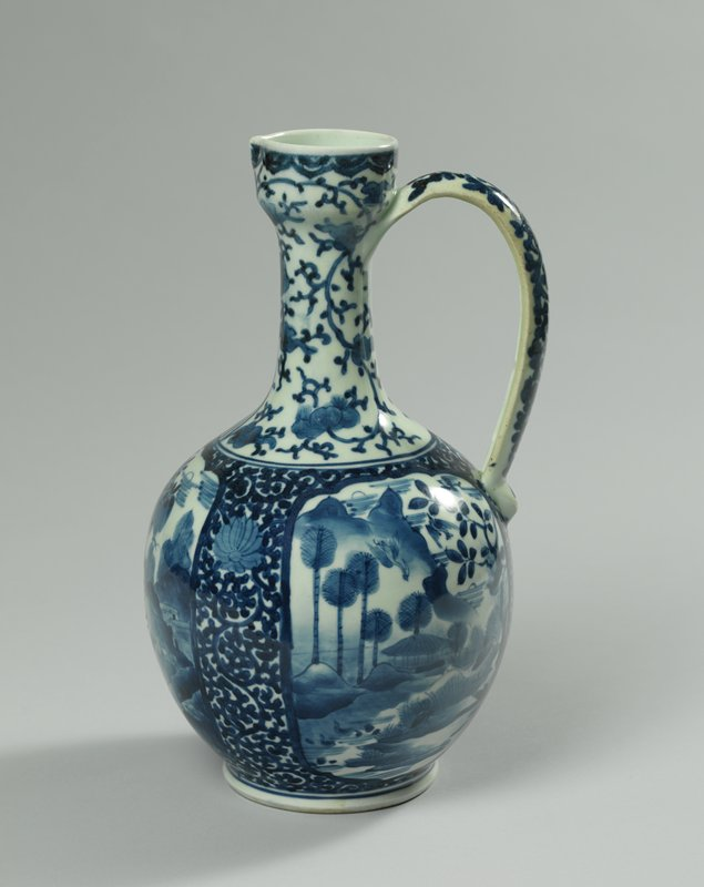 white porcelain ewer with blue underglaze vignettes and scrolling floral patterns; vignettes of men with umbrellas in garden, and two garden scenes with birds; floral pattern on handle; narrow neck, wider body narrow spout