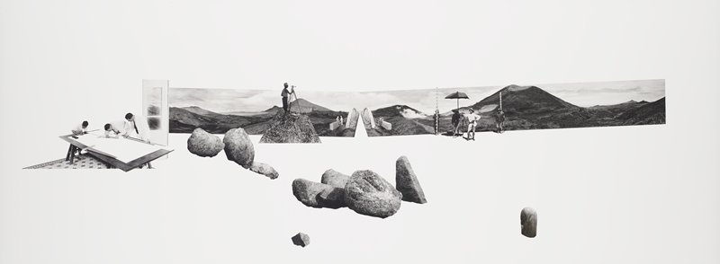 large boulders at center; three men working with drafting tools at large table at right; rectangle of landscape with small mountains with surveyor, two pairs of figures flaking a bridge and another surveyor with figures holding an umbrella and vertical measuring sticks