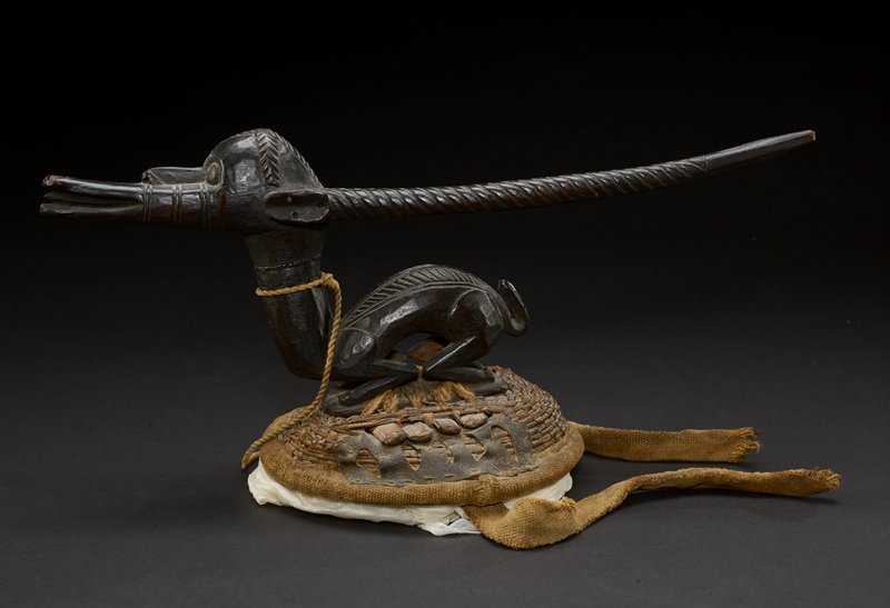 one of a pair of dance headpieces adorned with a small wooden figure of an antelope; figure rests on top of woven basket; antelope has long snout with an open mouth and slightly protruding tongue; its eyes are round and placed on the front of the head and its ears are oval and situated on either side of the head; the animal's head and back are decorated with carvings; long antlers are carved in spiral patterns and protrude out away from the figure; a long, thick neck connects to the round but lithe body of the antelope; the animals rests back on its haunches and has a rope tied around its neck; a metal band is also present at the animal's neck; the figure sits on a woven mound that resembles an upside down basket; the entire body of the antelope is the dark brown of the wood from which it is carved