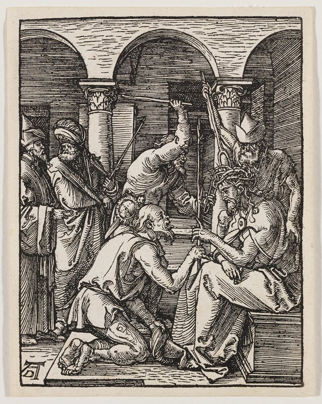 Christ seated at left, with standing man at left wearing cap pushing crown of thorns onto Christ's head with a forked stick; another man behind and to Christ's right holds a staff above his head; kneeling man in front of Christ; two other standing men at left