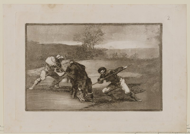 two men flanking a bull, each stabbing it with staffs, in the shoulder and PR side, in a spare grey landscape with trees at center middle ground