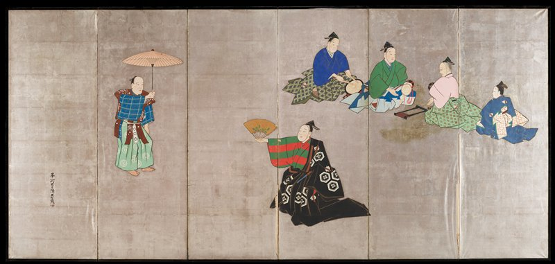six figures set against a silver ground; from L to R: standing man with parasol; standing man with gold hand fan; two seated musicians facing two seated figures, one of whom is an elder
