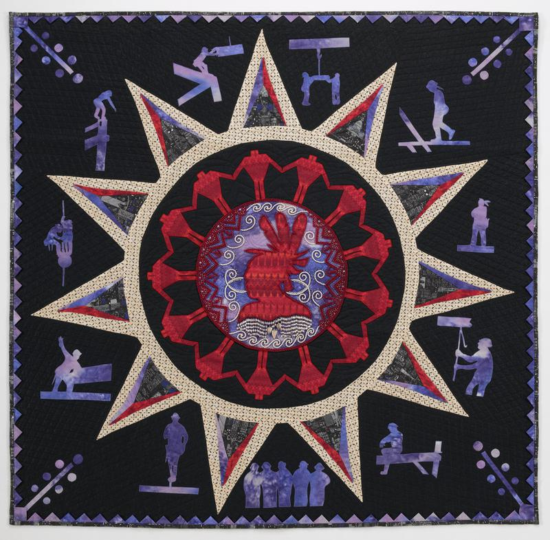 black/purple/red quilt; round medallion at center with red profile; beaded in red and white; wampum and glass bead strands below profile; sunburst-like design around center medallion surrounded by black ground and purple silhouettes of people; machine and hand appliqued and quilted; rod pocket on verso