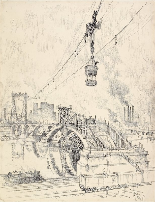 View of Third Avenue Bridge in Minneapolis, under construction