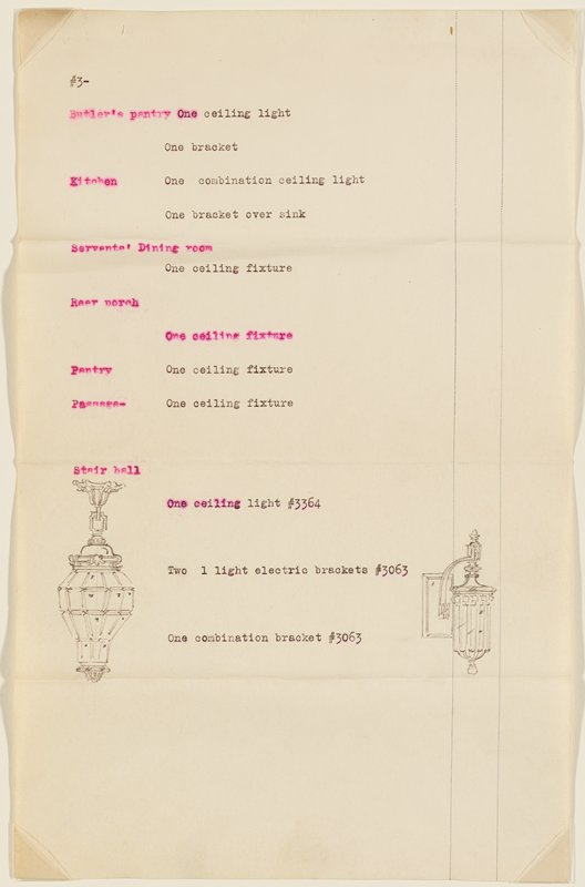 Page 3 of proposal for lighting fixtures for the residence of H.F. Legg, Minneapolis, by John S. Bradstreet & Co., Minneapolis.Typewritten descriptions and numbers and graphite drawings of lighting fixtures.