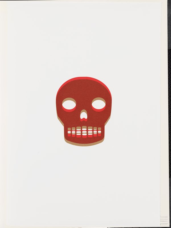 stylized image of skull; red, rust and tan