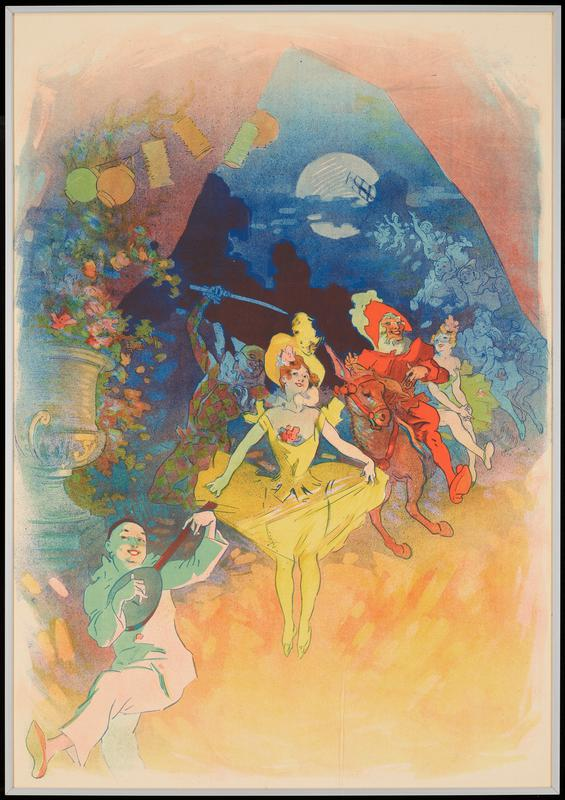 curving line of performers extending from LLC back into dark blue night sky with moon; figure dressed as Pirot playing a lute and dancing in LLC; red-haired woman in a yellow costume with orange flower at her breast and flower on her hat at center, with a jester figure wearing a yellow and orange costume behind her in the shadows; man in red riding a mule behind woman in yellow, to right; very large vase of flowers at left; Japanese lanterns in ULQ