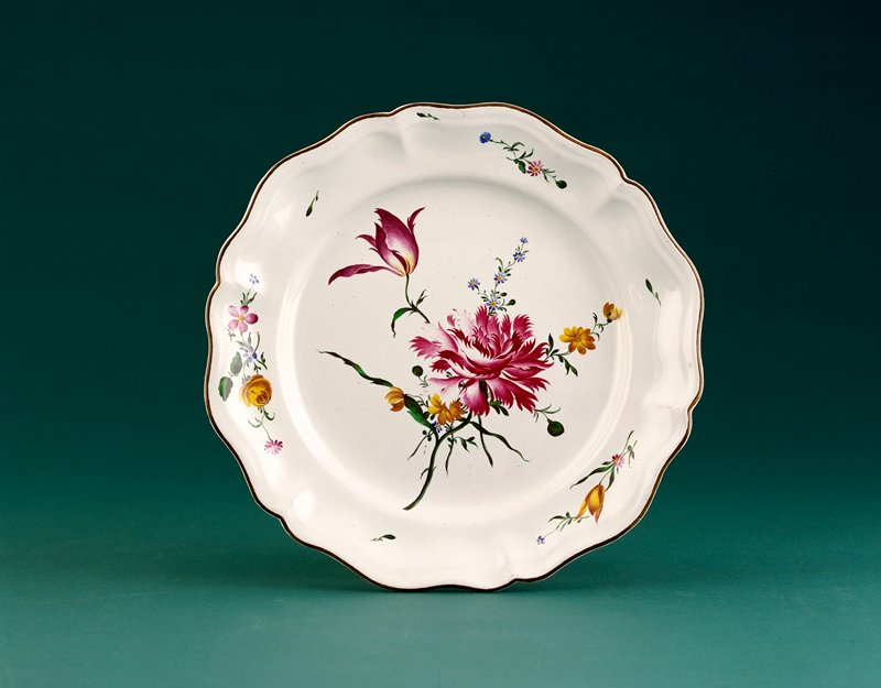 Beyerle period covered faience tureen; lid finial of lobster, mushroom and leeks; decoration of flowers in delicate rococo style all over body