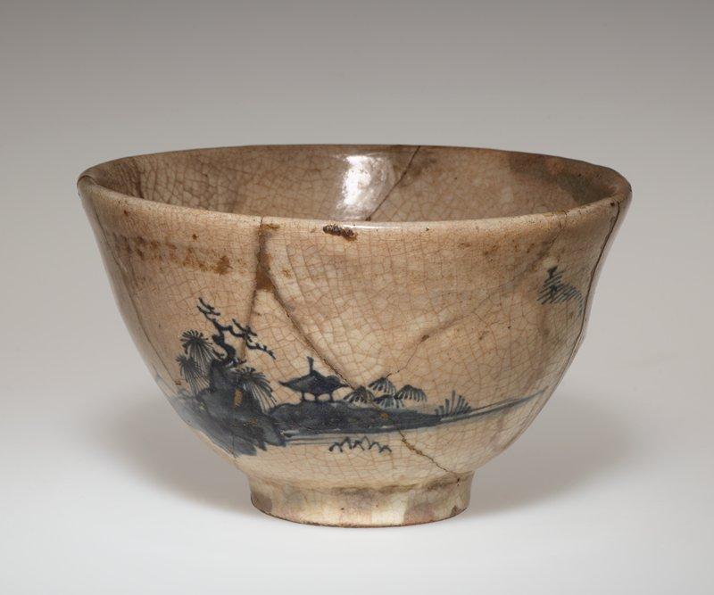 Tea Bowl gray glaze with landscape in blue